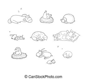 Sleeping Farm animals. Cute cartoon horse, cow and goat, sheep and goose, chicken and pig.