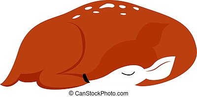 Sleeping fawn, illustration, vector on white background.