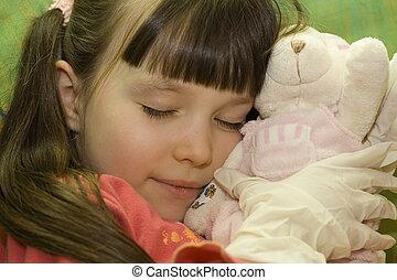 sleeping girl - girl with doll