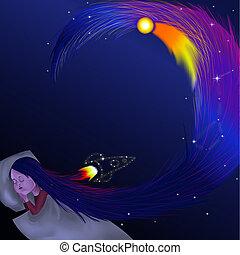 Sleeping girl Long hair. Space. Design postcard, poster, clothing, holiday.