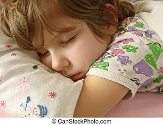 sleeping girl - close-up portrait of the sleeping girl
