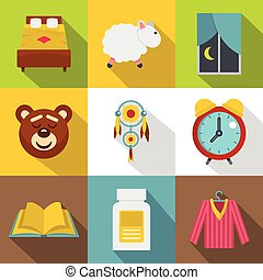 Sleeping icon set, flat style