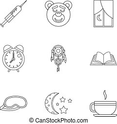 Sleeping icon set, outline style