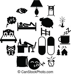 Sleeping icons set