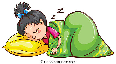 Sleeping - Illustration of a girl sleeping