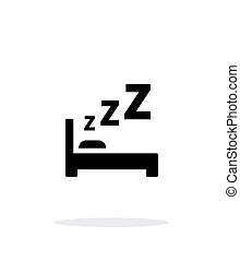 Sleeping in bed simple icon on white background.
