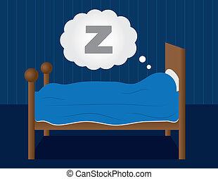 Sleeping in Bed  - Sleeping in a dark blue room.