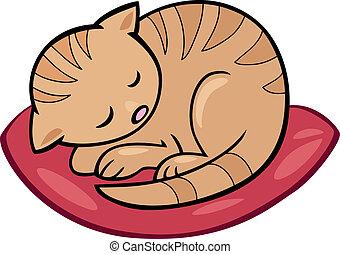 sleeping kitten - Cartoon illustration of sleeping kitten