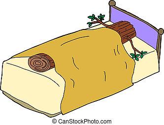 Sleeping Like a Log - Cut tree sleeping like a log in bed
