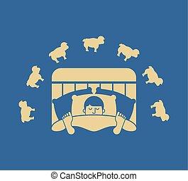 Sleeping man and sheep. Guy in bed asleep. sleeper male. Vector illustration