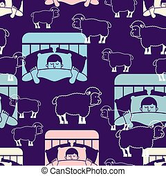 Sleeping man and sheep pattern seamless. Guy in bed asleep ornament. sleeper male background. Vector texture