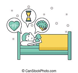 sleeping man in bed with thoughts of heart, time and mind