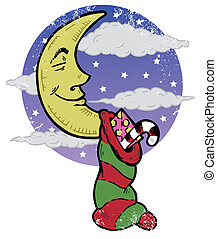 Sleeping moon and Christmas eve night illustration. All...