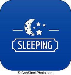 Sleeping moon icon blue vector