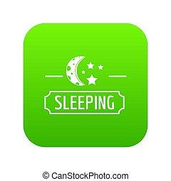 Sleeping moon icon green