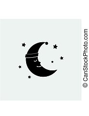 Sleeping moon icon in nightcap and stars isolated on...