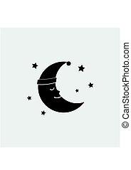 Sleeping moon icon in nightcap and stars isolated on...