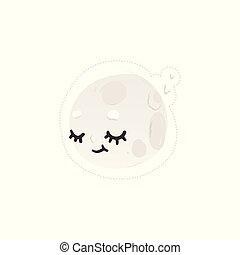 Sleeping moon in the sky cute cartoon character vector illustration isolated.