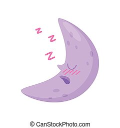 Sleeping moon on white background. Night concept.