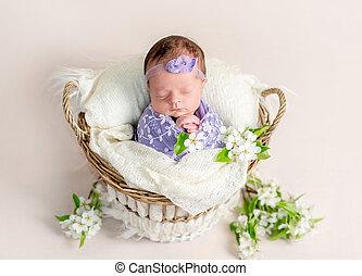 Sleeping newborn baby girl swaddled in a soft lilac blanket