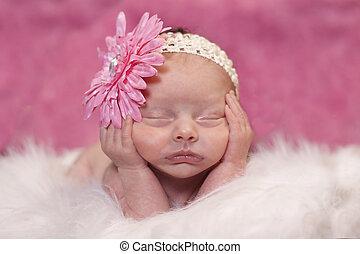 Sleeping newborn - Newborn baby girl sleeping in a adorable...