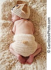 newborn - sleeping newborn wearing funny costume