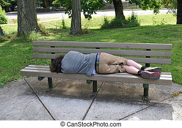 A homeless person takes a nap on a bench in a public park.