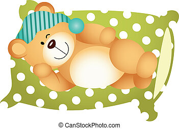 Sleeping on Pillow Cute Teddy Bear