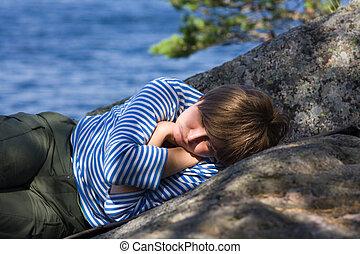 Sleeping on rocks