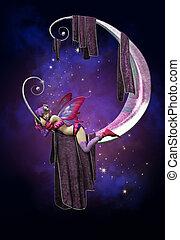 Sleeping on the Moon - a cute little fairy sleeping on a...