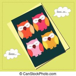 Sleeping owls card