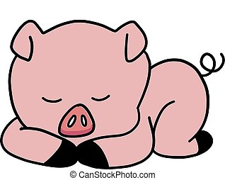 Sleeping pig, illustration, vector on white background.