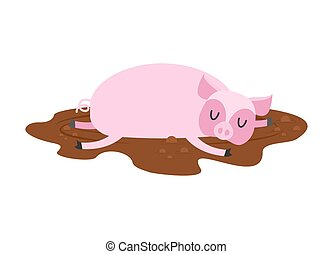 Sleeping pig in mud. Farm Animal is sleeping. Sleepy piggy in puddle