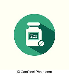 Sleeping pills icon with shadow on a green circle. Vector pharmacy illustration