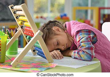 Sleeping preteen girl - Tired preteen girl fell asleep when...
