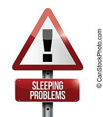 sleeping problem warning road sign illustration