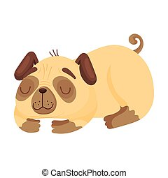 Sleeping pug. Vector illustration on white background.