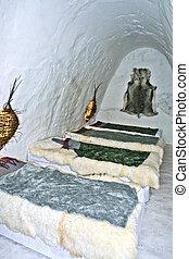 sleeping room in an ice hotel
