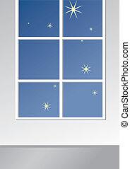 Sleeping room window at night
