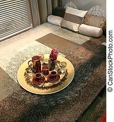 sleeping room with decorative tray