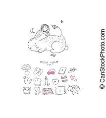 sleeping set. cartoon girl and a rabbit. Sweet Dreams. Good night. Time to sleep. Cute animals.