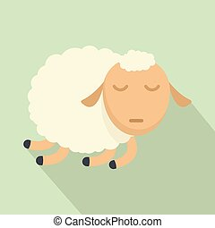 Sleeping sheep icon, flat style