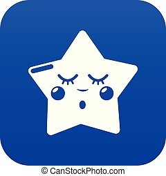 Sleeping star icon blue vector