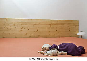 suckling alone in huge bed