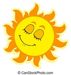 Sleeping Sun on white background - isolated illustration.
