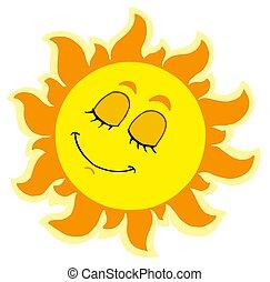 Sleeping Sun on white background - isolated illustration.