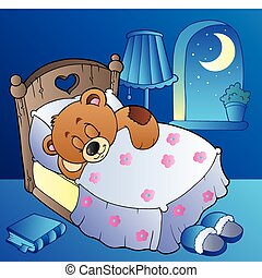 Sleeping teddy bear in bedroom - vector illustration.