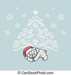 Sleeping teddy bear near the Christmas tree. Greeting card