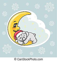 Sleeping teddy bear on the moon. Christmas scrapbook design