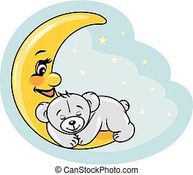 Sleeping teddy bear on the moon